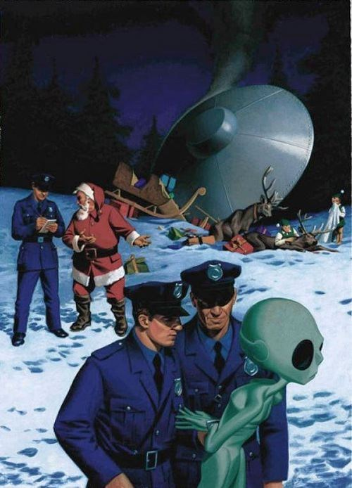 Aliens,santa,cops,ufo,sleigh