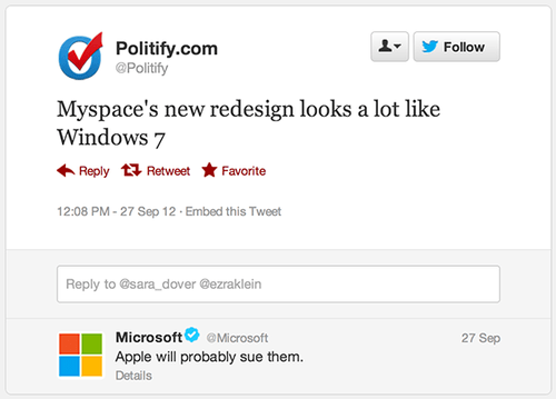 apple microsoft myspace politify windows 7