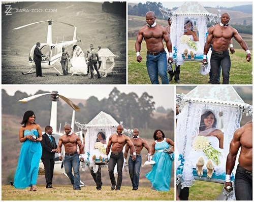 bride,buff men,carried,entrance,helicopter,palanquin