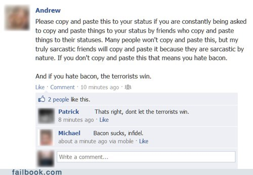 bacon,terrorists,copy and paste