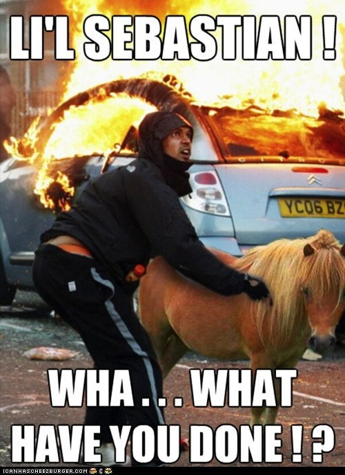 caption,destruction,fire,horses,lil sebastian,parks and rec,parks and recreation,photoshopped,ponies,riots