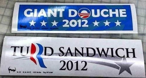 barack obama,bumper stickers,categoryimage,giant douche,Mitt Romney,South Park,turd sandwich