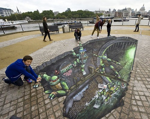 nerdgasm,TMNT,Street Art,illusion,perspective