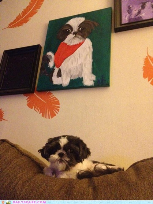 reader squee squee dogs dorian gray portrait painting - 6636694528
