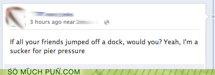 jump,dock,hypothetical,peer pressure,pier,peer,homophone,double meaning