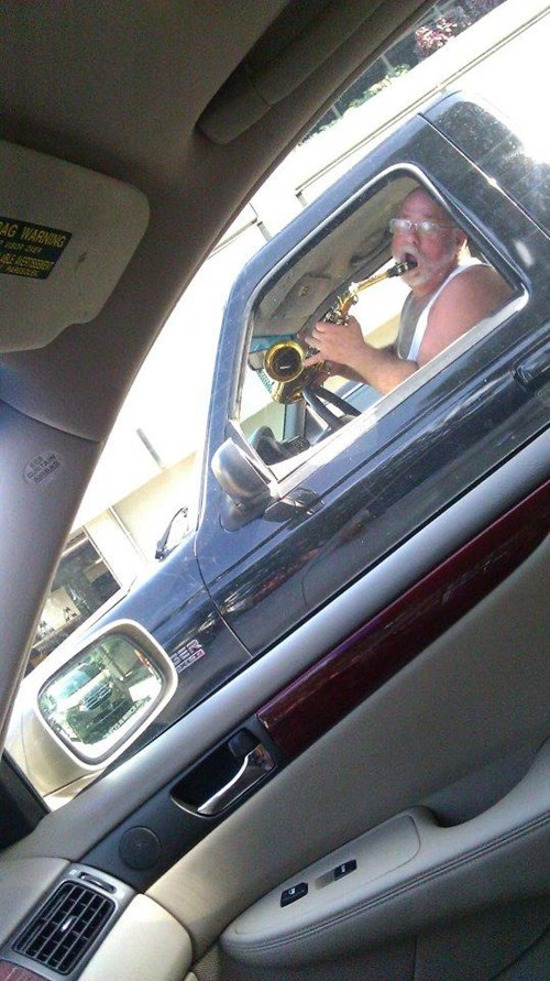 saxophone practice cars driving distraction - 6637072128