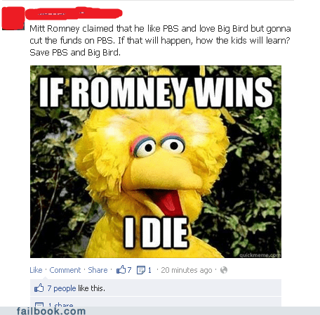 big bird Sesame Street PBS pbs funding Mitt Romney Debates election 2012 barack obama
