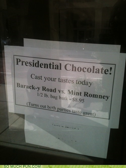 chocolate,rocky road,barack obama,Mitt Romney,mint,similar sounding,names,promotion