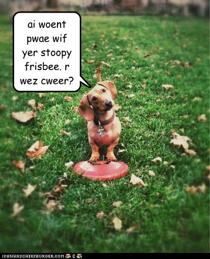 ai woent pwae wif yer stoopy frisbee. r wez cweer?