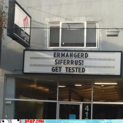 STDs get tested sign Ermahgerd