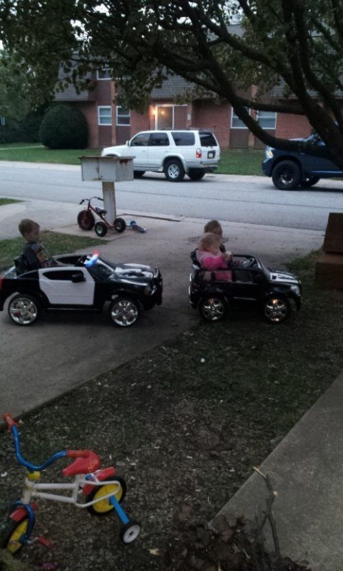 police car power wheels pulled over