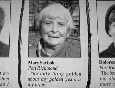 golden years,old lady,pee,newspaper