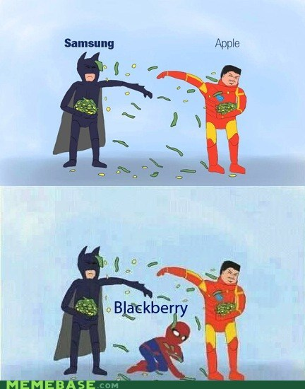 Samsung,apple,blackberry,Spider-Man,needs cash