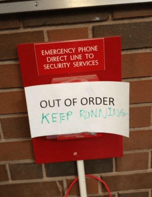 fire alarm out of order emergency sign
