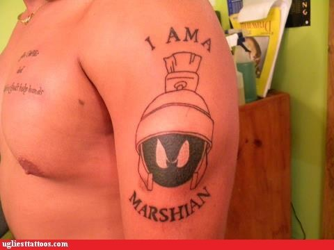 arm tattoos,misspelled tattoos,marvin the martian,g rated,Ugliest Tattoos