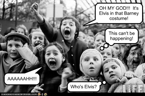 kids,crowd,yell,Elvis,barney