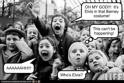 kids crowd yell Elvis barney - 6642417664