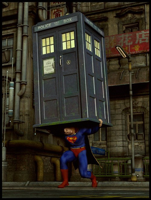 doctor who superman crossover cosplay tardis - 6643139840