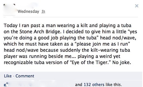 eye of the tiger,stone arch bridge,tuba,survivor,kilt