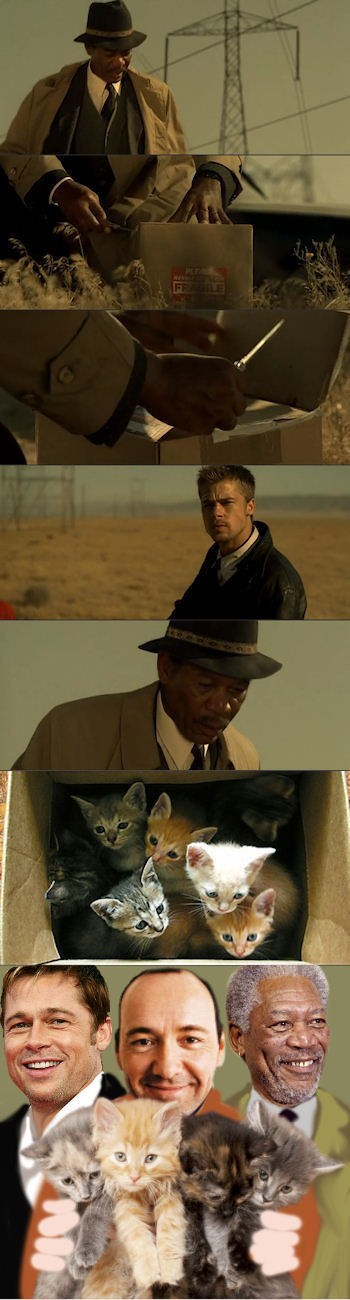 funny actor celeb brad pitt Morgan Freeman kevin spacey comic Movie se7en categoryimage - 6643409408