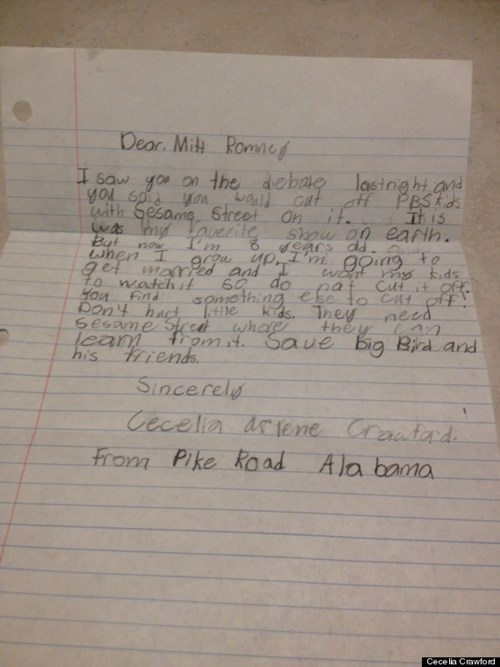 Mitt Romney,Sesame Street,PBS,debate,8 years old,letter