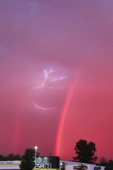 rainbow,lightning,Damn Nature U Scary,landscape