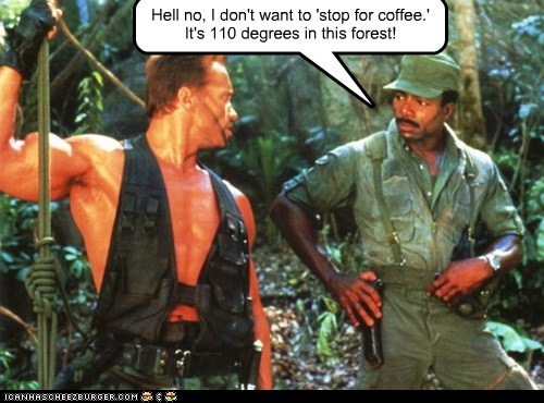 hot,Arnold Schwarzenegger,Carl Weathers,coffee,no