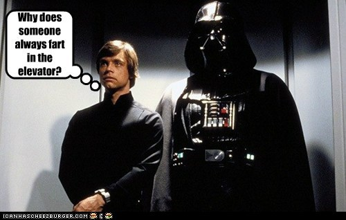 elevator,star wars,Awkward,luke skywalker,why,fart,darth vader,Mark Hamill