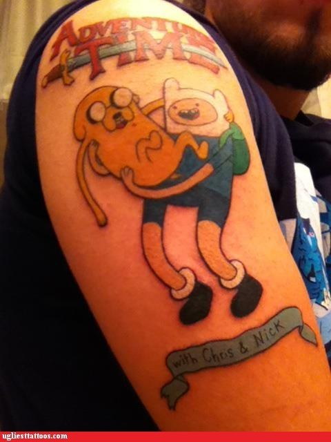 arm tattoos,wins,adventure time,g rated,Ugliest Tattoos