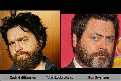 funny TLL actor celeb Zach Galifianakis Nick Offerman ron swanson categoryimage - 6644346624