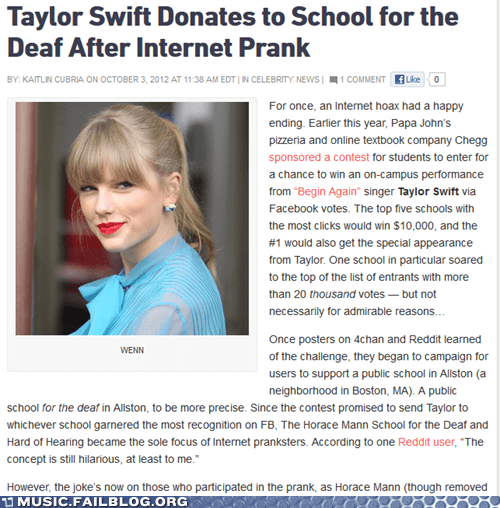 taylor swift,school for the deaf,donations
