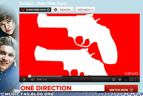 one direction,guns,youtube