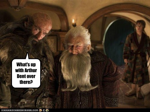 arthur dent,Martin Freeman,Bilbo Baggins,dwarves,The Hobbit,confused