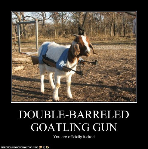 DOUBLE-BARRELED GOATLING GUN You are officially fucked