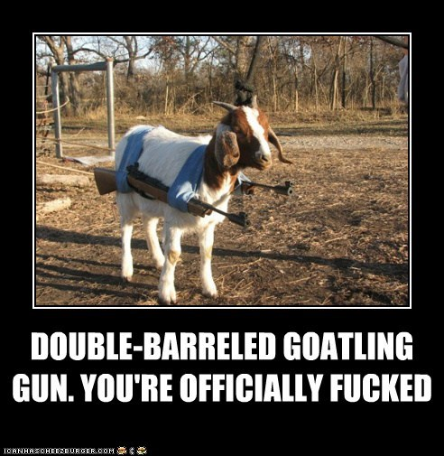 DOUBLE-BARRELED GOATLING GUN. YOU'RE OFFICIALLY FUCKED