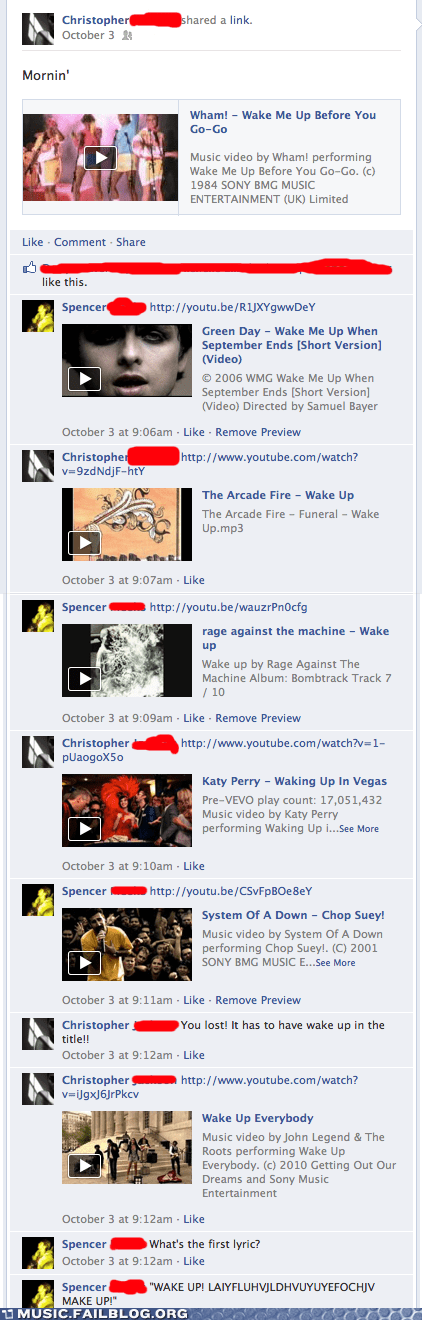 facebook games song titles wake up