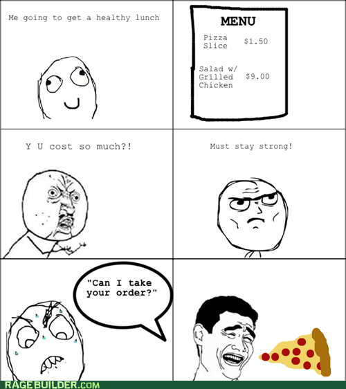 salad,pizza,price,noms,Y U No Guy