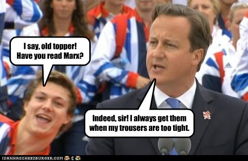 david cameron Marx pun marks trousers too tight indeed