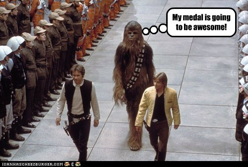 disappointment star wars chewbacca awesome medal Han Solo sorry Harrison Ford Mark Hamill