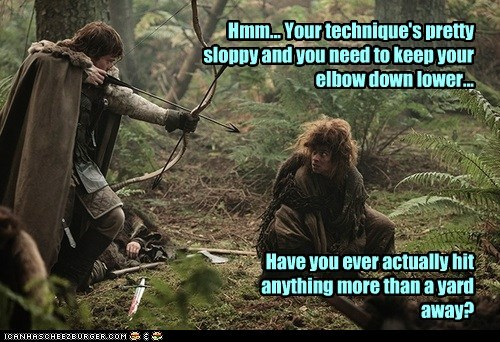 arrow,theon greyjoy,Natalia Tena,criticism,Game of Thrones,technique,alfie allen,osha,archery