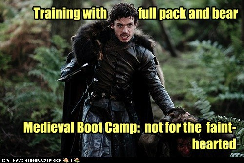 Training with full pack and bear Medieval Boot Camp: not for the faint-hearted