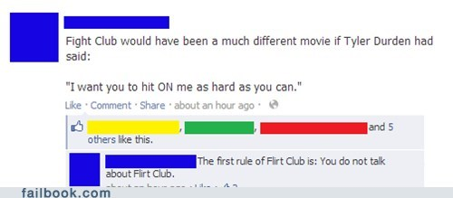 fight club,flirt club,tyler durden,first rule of fight club