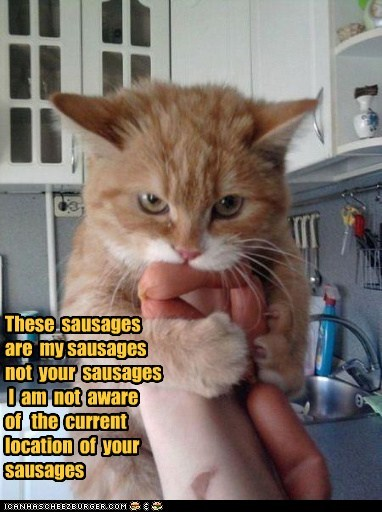 sausages,nom,meat,mine,deli,Cats,captions,location