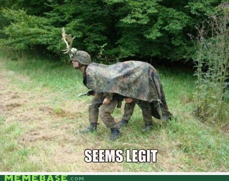 seems legit animal camouflage deer soldiers who's to say whos-to-say