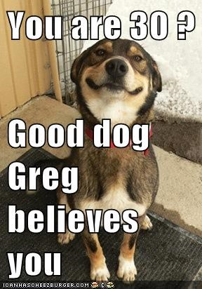 You are 30 ? Good dog Greg believes you - Memebase - Funny Memes