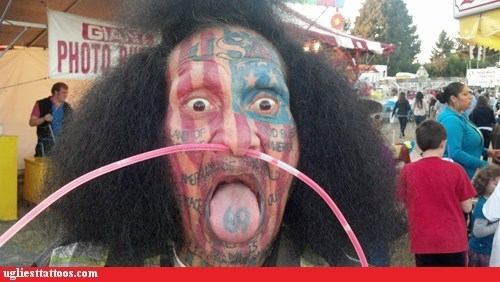 patriotism face tattoos america