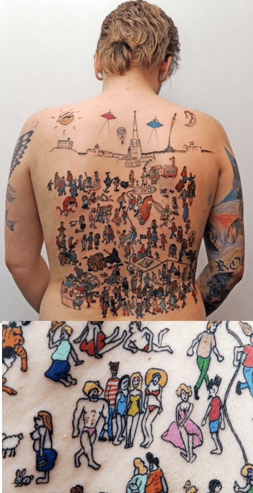 wheres waldo,back tattoos