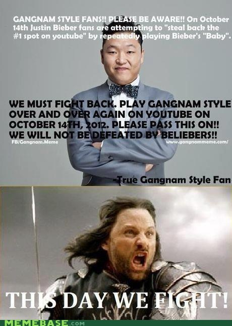 gangnam style,justin bieber,Lord of the Rings