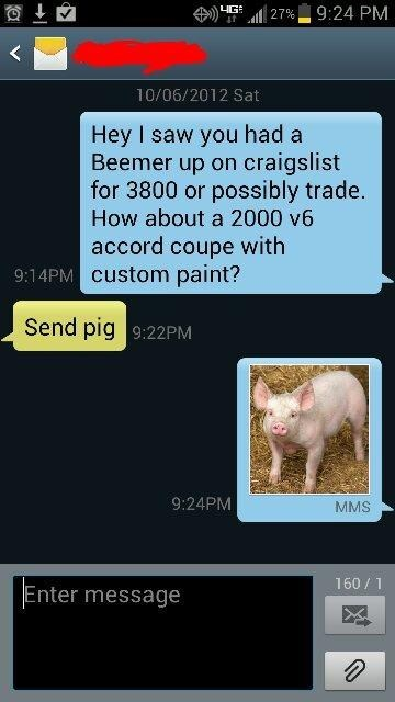 if you say so,pig,android,craigslist,car