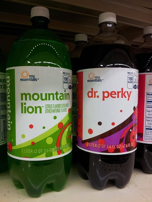 dr pepper,mountain dew,mountain lion,dr perky,dr skipper,store brand,store-brand soda